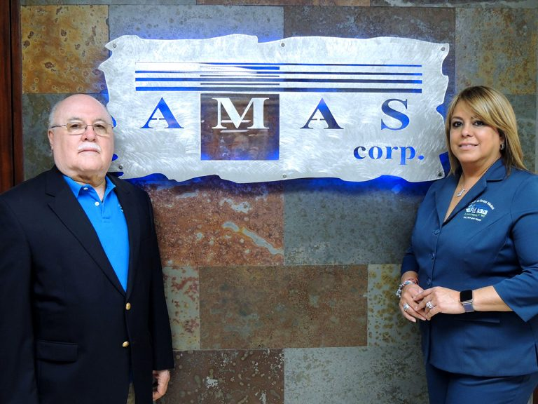 The two owners of AMAS CORP (Carlos Rivera y Hellitz Bellido de Rivera) at their office